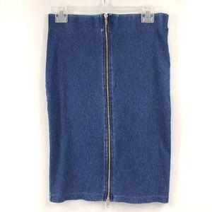 H & M Denim Zipper Midi Skirt